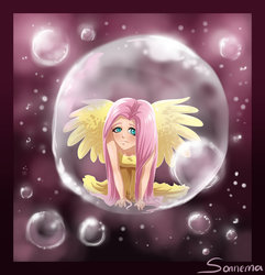 Size: 800x831 | Tagged: safe, artist:seismopac, fluttershy, bubble, humanized, in bubble, winged humanization