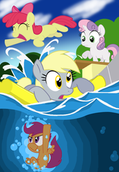 Size: 758x1095 | Tagged: apple bloom, artist:shutterflye, cutie mark crusaders, derpy hooves, female, floaty, mare, pegasus, pony, safe, scootaloo, sweetie belle, swimming, swimming pool