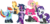 Size: 1700x815 | Tagged: safe, artist:schnuffitrunks, applejack, fluttershy, pinkie pie, rainbow dash, rarity, twilight sparkle, pony, alternate hairstyle, applepunk, clothes, fashion, flutterpunk, mane six, punk, punkie pie, rainbow punk, raripunk, simple background, socks, striped socks, transparent background, vector