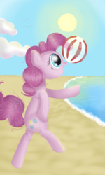 Size: 480x800 | Tagged: safe, artist:twilightspc, pinkie pie, ball, beach, beach ball