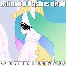 Size: 945x945 | Tagged: safe, artist:166, artist:megasweet, princess celestia, rainbow dash, advice meme, good intentions celestia, image macro, impact font, meme, paraprosdokian, smirk