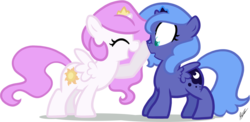 Size: 1120x545 | Tagged: safe, artist:egophiliac, princess celestia, princess luna, alicorn, pony, :o, boop, cewestia, cute, cutelestia, duo, eyes closed, female, filly, filly celestia, filly luna, foal, honk, nose wrinkle, open mouth, pink-mane celestia, royal sisters, sisters, smiling, wide eyes, woona, younger