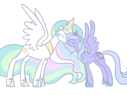 Size: 640x480 | Tagged: safe, artist:egophiliac, princess celestia, princess luna, alicorn, pony, duo, ethereal mane, eyes closed, female, mare, nuzzling, royal sisters, s1 luna, sibling love, siblings, simple background, sisterly love, sisters, spread wings, white background, wings