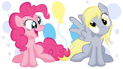 Size: 1191x670 | Tagged: safe, artist:nollaig, derpy hooves, pinkie pie, pegasus, pony, female, mare