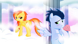 Size: 1366x768 | Tagged: safe, artist:realider, soarin', spitfire, pegasus, pony, blushing, cloud, cloudsdale, cloudy, column, female, heart, hearts and hooves day cards, lidded eyes, male, mouth hold, shipping, soarinfire, spread wings, straight, valentine, valentines day card, wingboner, wings