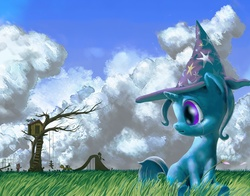 Size: 1500x1175 | Tagged: artist:changeunism, cloud, cloudy, crying, cute, diatrixes, filly, safe, treehouse, trixie