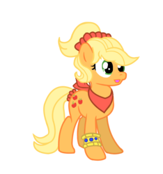 Size: 1200x1283 | Tagged: safe, artist:schnuffitrunks, applejack, alternate hairstyle, bandana, makeover, simple background, solo