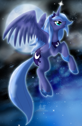 Size: 850x1300 | Tagged: artist:thepipefox, flying, moon, princess luna, s1 luna, safe, solo
