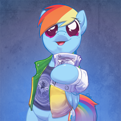 Size: 764x764 | Tagged: artist:0r0ch1, big eyes, clothes, crossover, cute, dashabetes, dosh, female, harry enfield, hoof hold, jacket, loadsamoney, looking at you, money, open mouth, parody, rainbow dash, rainbow dosh, safe, semi-anthro, shirt, smiling, solo