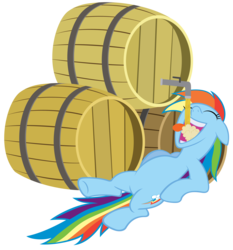 Size: 2600x2786 | Tagged: safe, artist:stabzor, rainbow dash, barrel, cider, high res, on back, simple background, solo, transparent background, vector