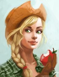 Size: 638x825 | Tagged: safe, artist:majoh, applejack, apple, bust, humanized, obligatory apple, solo