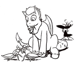 Size: 1022x876   Tagged: safe, artist:mistermech, oc, oc only, oc:gorgon, oc:stonewing, chimera, cockroach, insect, radroach, fallout equestria, fallout equestria: project horizons, black and white, fanfic art, fusion, grayscale, monochrome, project chimera (project horizons), simple background, solo, vector, white background