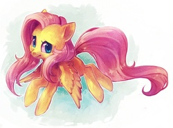 Size: 551x410 | Tagged: artist:zilleniose-chu, cute, fluttershy, pegasus, pony, safe, shyabetes, solo, wing fluff