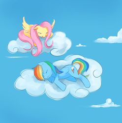 Size: 968x977 | Tagged: safe, artist:sunstice, fluttershy, rainbow dash, pegasus, pony, cloud, lying down, on a cloud, prone, sky, sleeping