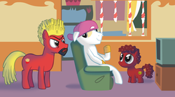 Size: 2242x1248 | Tagged: safe, artist:hotdiggedydemon, party.mov, aqua teen hunger force, burger, crossover, french fries, frylock, hamburger, master shake, meatball, meatwad, ponified, sandwich, shake
