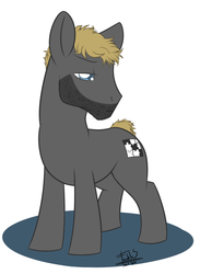 Size: 586x800 | Tagged: safe, artist:freckles, five o clock shadow, gregory house, house m.d., ponified, stubble