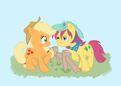 Size: 940x669 | Tagged: safe, artist:tell-me-lies, applejack, tex, bandana, blushing, female, fence, g1, g1 to g4, generation leap, hat, male, shipping, straight, texjack, wink