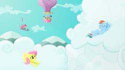 Size: 2560x1440 | Tagged: safe, artist:regolithx, applejack, fluttershy, pinkie pie, rainbow dash, rarity, spike, twilight sparkle, cloud, cloudy, flying, hot air balloon, mane seven, pinkiecopter, sinking, twinkling balloon