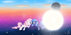 Size: 3500x1750 | Tagged: safe, artist:sameasusual, princess celestia, princess luna, pony, argument, celestial mechanics, cewestia, day, filly, foal, moon, night, pink-mane celestia, s1 luna, sibling rivalry, stars, sun, sun vs moon, woona, young celestia, young luna