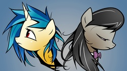 Size: 1920x1080 | Tagged: safe, artist:yikomega, dj pon-3, octavia melody, vinyl scratch, earth pony, pony, unicorn, 16:9, 1920x1080, bowtie, duo, female, frown, gradient background, looking down, looking up, mare, messy mane, missing accessory, no glasses, red eyes, sad, wallpaper, yellow