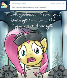 Size: 640x744   Tagged: safe, artist:giantmosquito, fluttershy, ask, ask-dr-adorable, clone, dr adorable, tumblr, vats