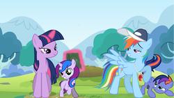 Size: 1280x720 | Tagged: safe, artist:yourfavoritesenpai, rainbow dash, twilight sparkle, oc, oc:andromeda sparkle, oc:midnight spirit, book, family, female, filly, lesbian, magical lesbian spawn, mama twilight, offspring, parent:rainbow dash, parent:twilight sparkle, parents:twidash, shipping, twidash, whistle