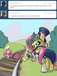 Size: 640x856   Tagged: safe, artist:giantmosquito, fluttershy, lily, lily valley, earth pony, pony, ask, ask-dr-adorable, bondage, cloth gag, dastardly whiplash, dr adorable, female, gag, imminent decapitation, mare, moustache, peril, scared, tied to tracks, tied up, train tracks, tumblr, wide eyes