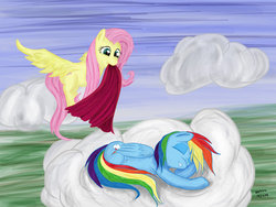 Size: 1024x771 | Tagged: safe, artist:ooklah, fluttershy, rainbow dash, cloud, cloudy, duo, eyes closed, sleeping