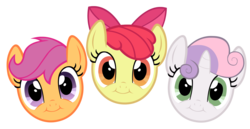 Size: 3000x1550 | Tagged: apple bloom, artist:blanishna, cute, cute face, cutie mark crusaders, faic, pep boys, pure unfiltered evil, safe, scootaloo, simple background, sweetie belle, transparent background, vector