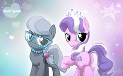 Size: 1680x1050 | Tagged: safe, artist:mysticalpha, diamond tiara, silver spoon, earth pony, pony, braid, butt, dock, duo, duo female, female, filly, foal, glasses, jewelry, looking at you, necklace, plot, tiara, wallpaper