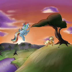 Size: 3000x3000 | Tagged: safe, artist:stein225, applejack, rainbow dash, duo, flying, high res, tree