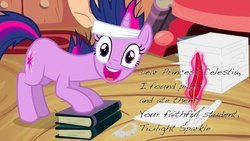 Size: 1280x720 | Tagged: safe, edit, edited screencap, screencap, twilight sparkle, pony, unicorn, it's about time, bandage, book, faic, female, headband, i found pills, i found pills and ate them, letter, looking at you, magic, mare, messy mane, open mouth, pills, quill, solo, telekinesis, unicorn twilight