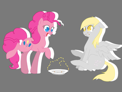 Size: 1600x1200 | Tagged: safe, artist:tomat-in-cup, derpy hooves, pinkie pie, earth pony, pegasus, pony, duo, eating, female, gray background, mare, open mouth, plate, puffy cheeks, raised hoof, simple background, sitting, smiling