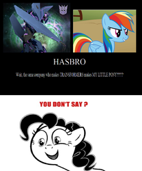 Size: 900x1084 | Tagged: hasbro, pinkie pie, rainbow dash, safe, soundwave, transformers, you don't say
