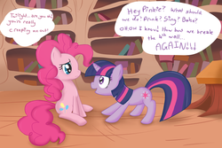 Size: 900x600 | Tagged: artist:speccysy, pinkie pie, safe, twilight sparkle