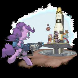 Size: 1024x1024   Tagged: safe, artist:stupjam, fluttershy, pinkie pie, rainbow dash, zecora, earth pony, pegasus, pony, zebra, australium, bipedal, crossover, democora, demoman, female, flamethrower, fluttermedic, mare, medic, parody, pinkie pyro, pyro, rainbow scout, rocket, scout, team fortress 2, weapon
