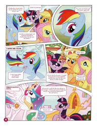 Size: 1021x1330 | Tagged: safe, applejack, fluttershy, princess celestia, rainbow dash, spike, twilight sparkle, bird, german comic, official, comic, official content, the great search, translation, twilight is a lion