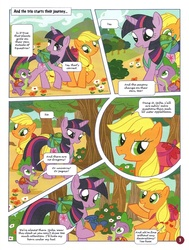 Size: 755x1000 | Tagged: safe, applejack, spike, twilight sparkle, german comic, official, comic, everfree forest, german my little pony comic, no way too far, official content, translation, twilight is a lion