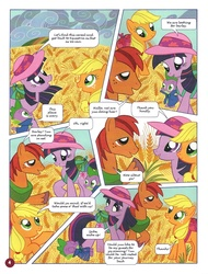 Size: 758x1000 | Tagged: safe, applejack, spike, twilight sparkle, german comic, official, barley, cereal, cloak, clothes, comic, no way too far, official content, translation, twilight is a lion