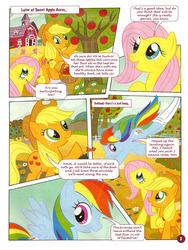Size: 753x1000 | Tagged: safe, applejack, fluttershy, princess celestia, rainbow dash, german comic, official, a big decision, comic, german my little pony comic, my little pony comic, official content, sweet apple acres