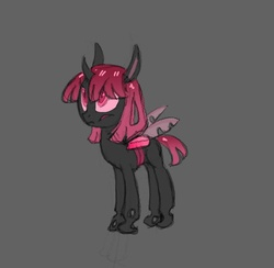 Size: 634x620 | Tagged: safe, artist:carnifex, oc, oc only, unnamed oc, changeling, changeling queen, changeling oc, changeling queen oc, female, gray background, pink changeling, simple background, solo