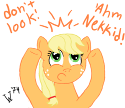 Size: 600x520 | Tagged: safe, artist:wolferahm, applejack, applejack wants her hat back, blonde, hatless, missing accessory, solo, we don't normally wear clothes