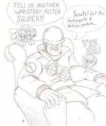 Size: 848x1010 | Tagged: apple bloom, artist:joey darkmeat, crossover, cutie mark crusaders, human, monochrome, safe, scootaloo, soldier, sweetie belle, team fortress 2, traditional art