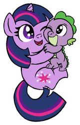 Size: 277x431 | Tagged: safe, artist:darlimondoll, spike, twilight sparkle, baby, baby dragon, baby spike, cute, filly, filly twilight sparkle, foal, hug, mama twilight, spikelove