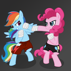 Size: 1000x1000 | Tagged: safe, artist:madmax, pinkie pie, rainbow dash, earth pony, pegasus, pony, 2010s, 2012, bandage, bipedal, blue eyes, blue fur, blue wings, boxing, boxing shorts, clothes, confident, dark grey background, determined, female, fight, gym shorts, hoof wraps, mare, martial arts, multicolored hair, multicolored mane, multicolored tail, pink eyes, pink fur, pink mane, pink tail, rainbow hair, rainbow tail, serious, shadow, shorts, smiling, smirk, tomboy, wings