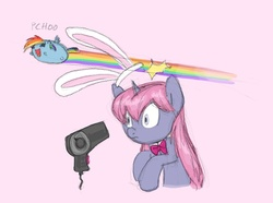 Size: 750x558   Tagged: safe, artist:carnifex, rainbow dash, oc, oc:velvet, pegasus, pony, unicorn, ask velvet, bunny ears, chubbie, female, mare, pink background, simple background