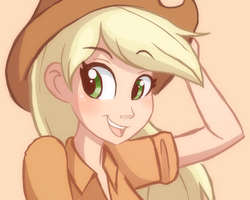 Size: 720x576 | Tagged: safe, artist:ric-m, applejack, human, beautiful, bust, colored background, cute, female, humanized, jackabetes, open mouth, solo
