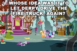 Size: 531x353 | Tagged: safe, edit, edited screencap, screencap, applejack, fluttershy, rainbow dash, rarity, twilight sparkle, swarm of the century, image macro