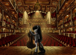 Size: 3177x2288   Tagged: safe, artist:josh-5410, artist:metadragonart, derpy hooves, octavia melody, pony, auditorium, balcony, bipedal, cello, chandelier, collaboration, crepuscular rays, eyes closed, featured image, high res, interior, musical instrument, smiling, spotlight, stage, stairs, theater, when you see it