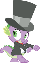 Size: 3000x4679 | Tagged: artist:m99moron, bowtie, clothes, dancing, dragon, hat, male, safe, simple background, solo, spike, suit, top hat, transparent background, tuxedo